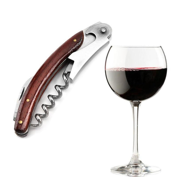 1pcs  Wood Handle Professional Wine Opener Multifunction Portable Screw Corkscrew Wine Bottle Opener Cook Tools - Wines Club