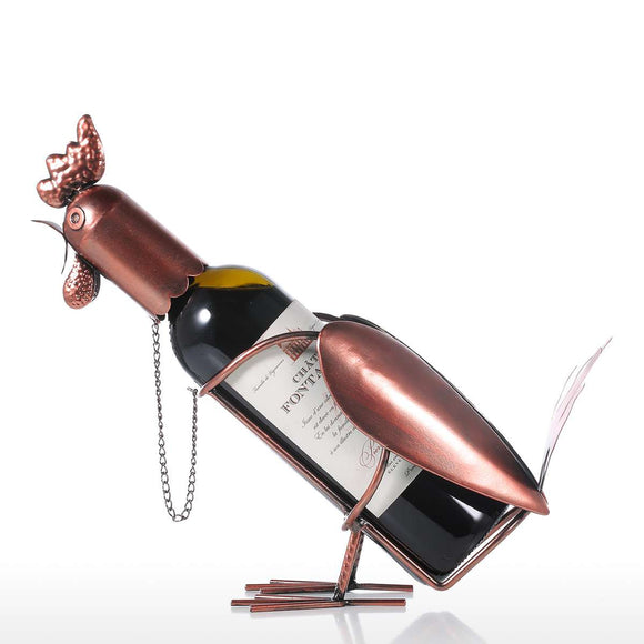 Tooarts Rooster Wine shelf Metal sculpture Practical sculpture Home decoration Interior decoration Crafts - Wines Club