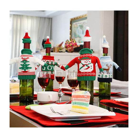 Wine Bottle Cover Christmas Winter Holiday Knit Sweaters Christmas Decoration