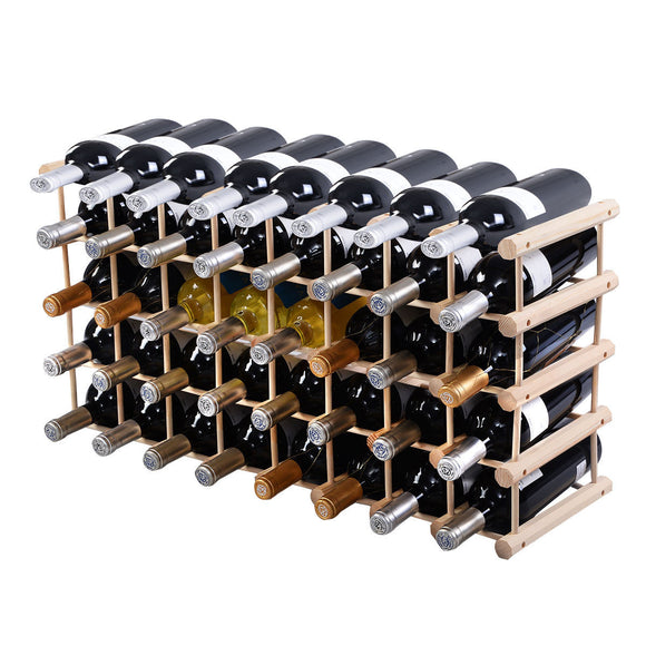 Costway Wood Wine Rack Stackable Storage Storage Display Shelves (40-Bottle) - Wines Club
