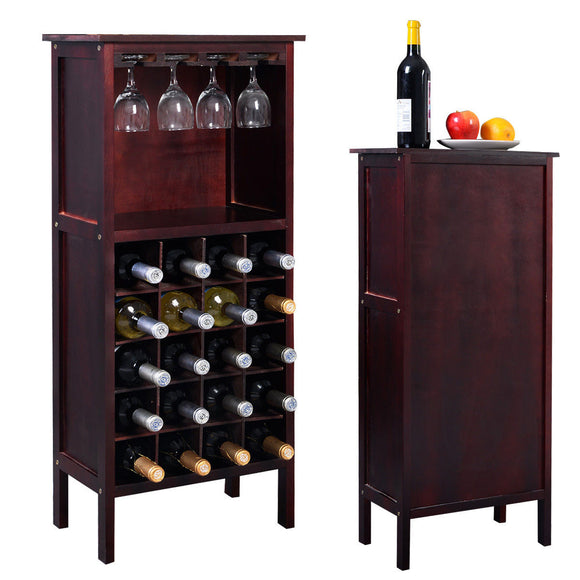 Costway Wood Wine Rack Holder Storage Shelf Display w/ Glass Hanger (20-Bottle(Cabinet)) - Wines Club