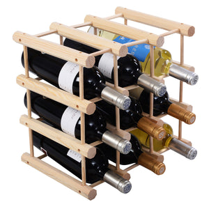 Costway 12 Bottle Wood Wine Rack Bottle Holder Storage Display Natural Kitchen - Wines Club