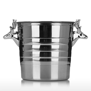 Ice Bucket with Silvery Deer Head Stainless Steel Sculpture Bar Tool Home Tool Wine Bucket Champagne Bucket - Wines Club