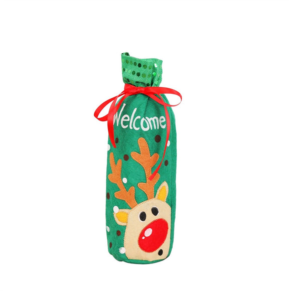 Christmas Wine Bottle Cover Holder Gift Bag Xmas Eve Dinner Table Decoration Candy Bags (Green Elk) - Wines Club