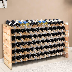 Costway 72 Bottle Wood Wine Rack Stackable Storage 6 Tier Storage Display Shelves - Wines Club