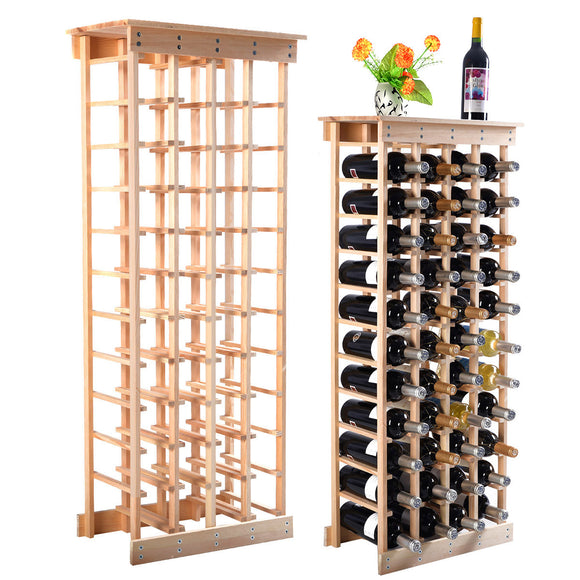 Costway Wood Wine Rack Stackable Storage Storage Display Shelves (44-Bottle) - Wines Club