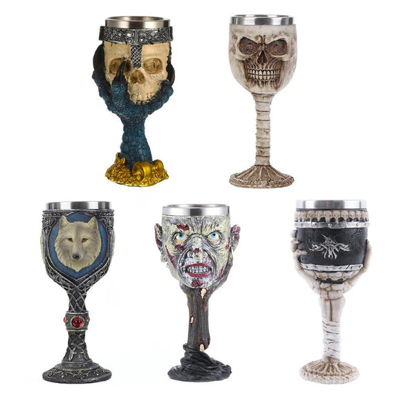Coolest Gothic Resin Skull Goblet Retro Claw Wine Glass Cocktail Glasses E5M1