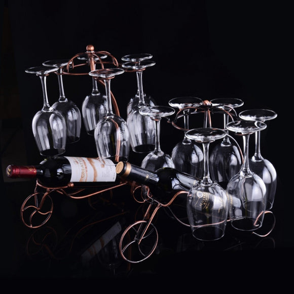 Iron Chariot Wine Rack Wine Cup Holder Home Furnishing Ornaments  - Bronze - Wines Club