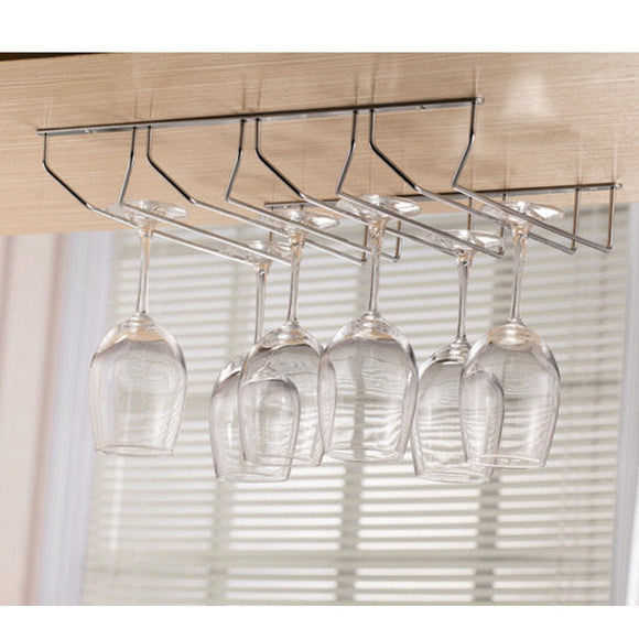 Upside-down Hanging Type Wine Glass Rack Cup Holder Hanging Shelf - Four Rows - Wines Club