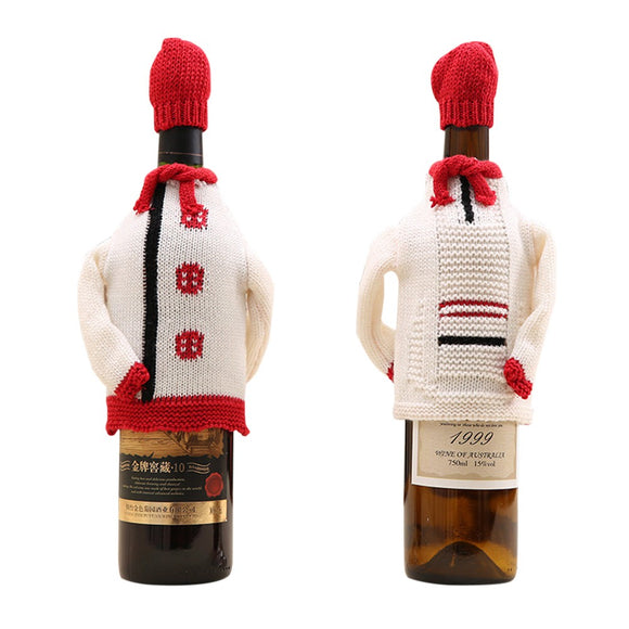 2pcs Christmas Wine Bottle Decorations Champagne Red Wine Bottle Clothes Party Supplies - Wines Club