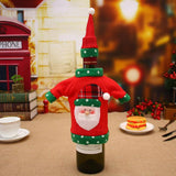 1 Set Sweater Christmas Red Wine Bottle Cover Champagne Bottle Decorative Knitted Hat Clothes Set Christmas Table Decoration - Wines Club