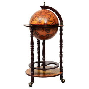 Costway  36'' Wood Globe Wine Bar Stand 16th Century Italian Rack Liquor Bottle Shelf - Wines Club