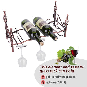 6 Glasses& 4 Bottles Metal Wine Rack Display Shelf Stemware Holder Storage Stand