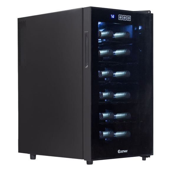 Costway 18 Bottle Thermoelectric Wine Cooler Freestanding Temperature Display Glass Door