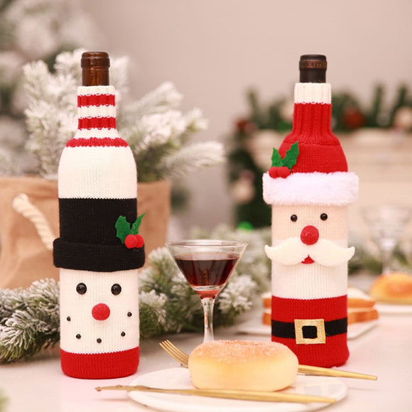 Christmas Wine Bottle Cover Decor Set Santa Claus Snowman Deer Bottle Cover Clothes Decoration for 2019 New Year Dinner Party