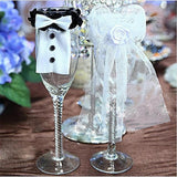 2 Pcs Bridal Wedding Gown Champagne Cup Wine Glass Lid Decoration - Wines Club
