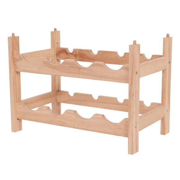 2 Tier Storage 8 Bottle Wood Wine Rack - Wines Club