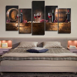 5Pcs/set Panel Large HD Printed Canvas Print Painting Casks Wine Home Decoration Wall Pictures for Living Room Wall Art on Canvas - Wines Club