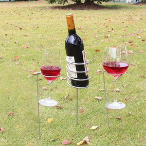 3Pcs/set Outdoor Wine Rack Glass Bottle Holder Stake Set for BBQ Garden Picnic Camping Wine Stakes Rack Drop Shipping - Wines Club