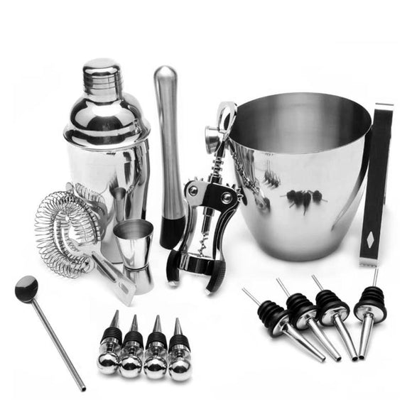 16pcs/set Stainless Steel Cocktail Shaker Mixer Wine Martini Boston Shaker For Bartender Drink Party Bar Tools 550ML/750ML E5M1 - Wines Club