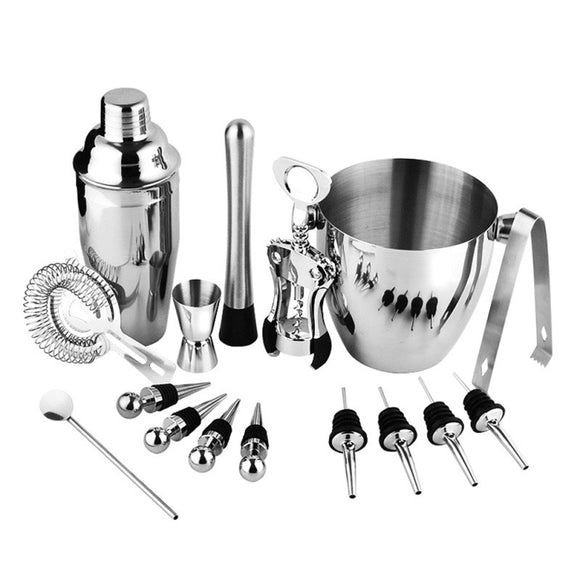 New 16PCS/SET Stainless Steel Cocktail Shaker Mixer Wine Martini Drink Bartender Kit Bars Set Tools