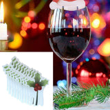 10 Pcs Christmas Santa Claus Hat Red Wine Cup Card Christmas Hat Cup Card Decora