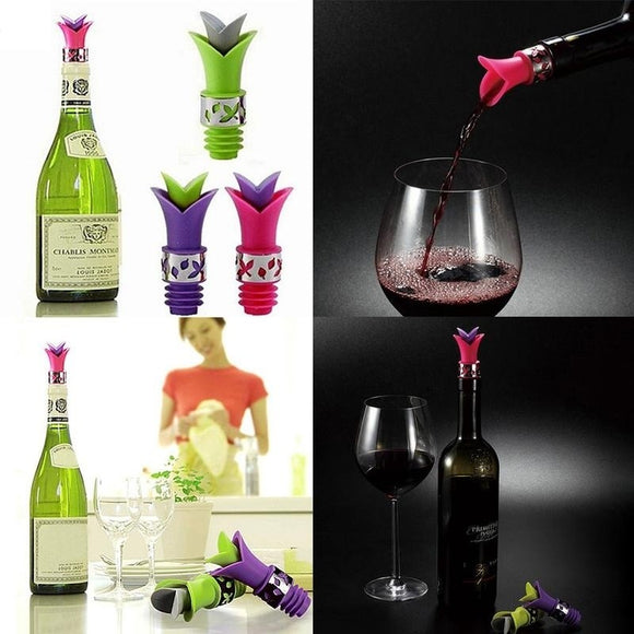 Lily Wine Bottle Stoppers 2 In 1 Silicone Wine Pourer Kitchen Wine Bar Tools - Wines Club