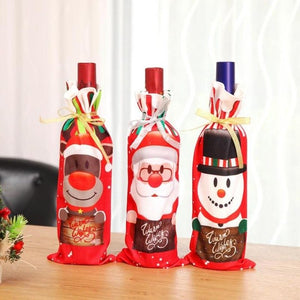 3 Pcs Red Christmas Wine bottle Cove Decoration Home Party Santa Claus Christmas Packaging Christmas Home Table Decoration - Wines Club