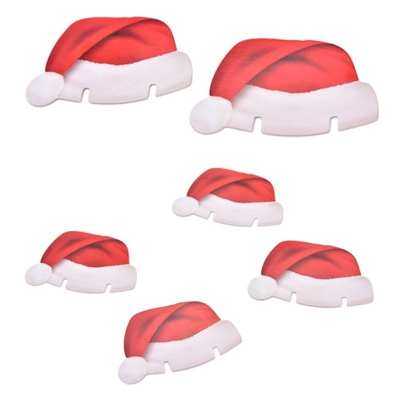 2018 Christmas 10pcs SANTA Hat Wine Glass Decorations  Christmas Table Place Name Cards - Wines Club
