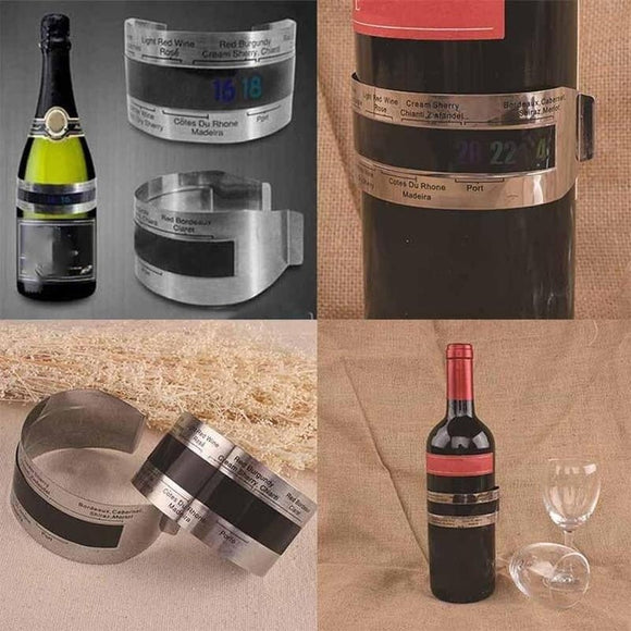 New Stainless Wine Bottle Thermometer LCD Display Serving Bracelet Party Checker
