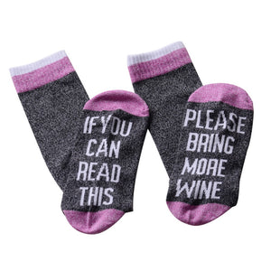 """If you can read this, please bring more wine"" Letter Printed Blending Socks for Men - Wines Club"