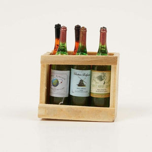1/12 Scale Dollhouse Miniature Furniture Mini 6 Wine Bottles with Wooden Frame - Wines Club