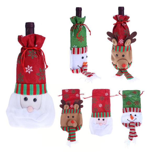Christmas Wine Bottle Decor Santa Claus Snowman Elk Bottle Cover Clothes Kitchen Decoration for New Year Xmas Dinner Party - Wines Club