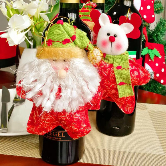 3pcs Santa Claus Snowman Deer Red Wine Bottle Cover Christmas Xmas Decoration for Home New Year Supplies