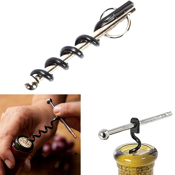Bottle Opener Multifunctional Mini Outdoor Stainless Steel Red Corkscrew Wine Bottle Opener With Ring Keychain - Wines Club
