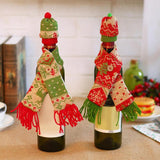 Christmas Red Wine Bottle Cover Set Scarf + Knitted Hat Champagne Bottle Cover Christmas Hat Table Decoration - Wines Club