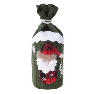 Santa Claus Gift Bag Cartoon Snowman Christmas Red Wine Bottle Cover Bag Xmas Table Dinner Decoration Candy Bag Pouch - Wines Club