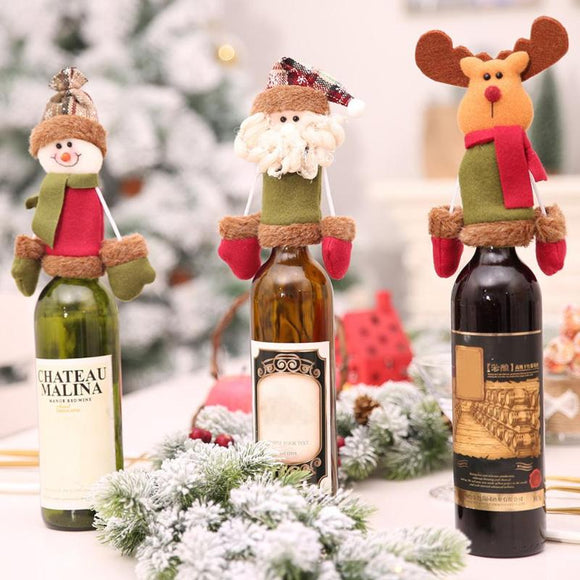 Cartoon Wine Bottle Sealer Art Cloth Champagne Bottle Cover Santa Claus Snowman Deer Dinner Ornaments Christmas Decor - Wines Club