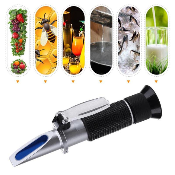 Handheld Alcohol Brix Refractometer Hydrometer Alcoholometer Sugar Wine Concentration Meter  0-25% alcohol beer 0-40% Brix grape