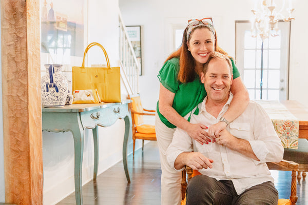 Lisa Davis Founder of Hampton Road Designs with husband Bruce Kirchofer  at their home in San Antonio, Texas