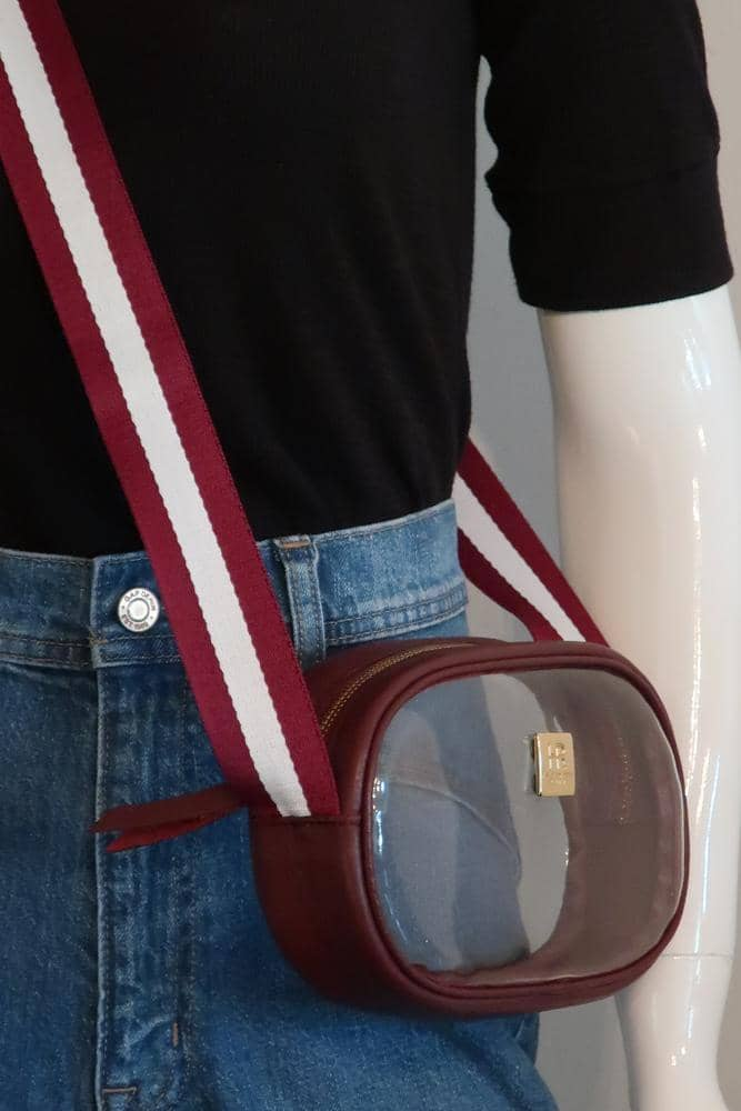 Sangria Vinyl Annie with Maroon and White Crossbody Strap