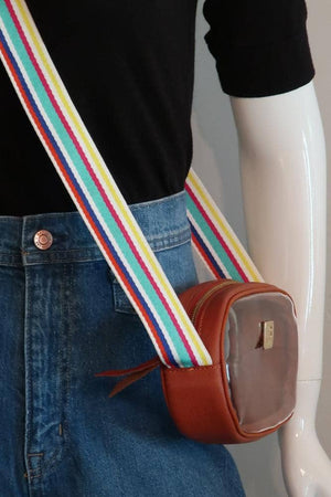 Cognac VInyl Annie + Multicolor Fiesta Striped Strap
