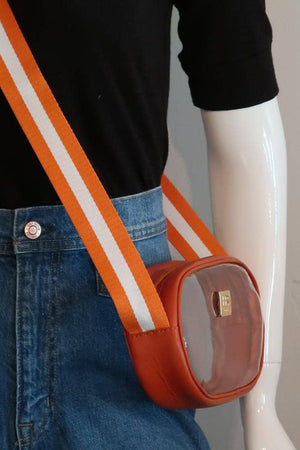 Tangerine Vinyl Annie with Orange and White Crossbody Strap
