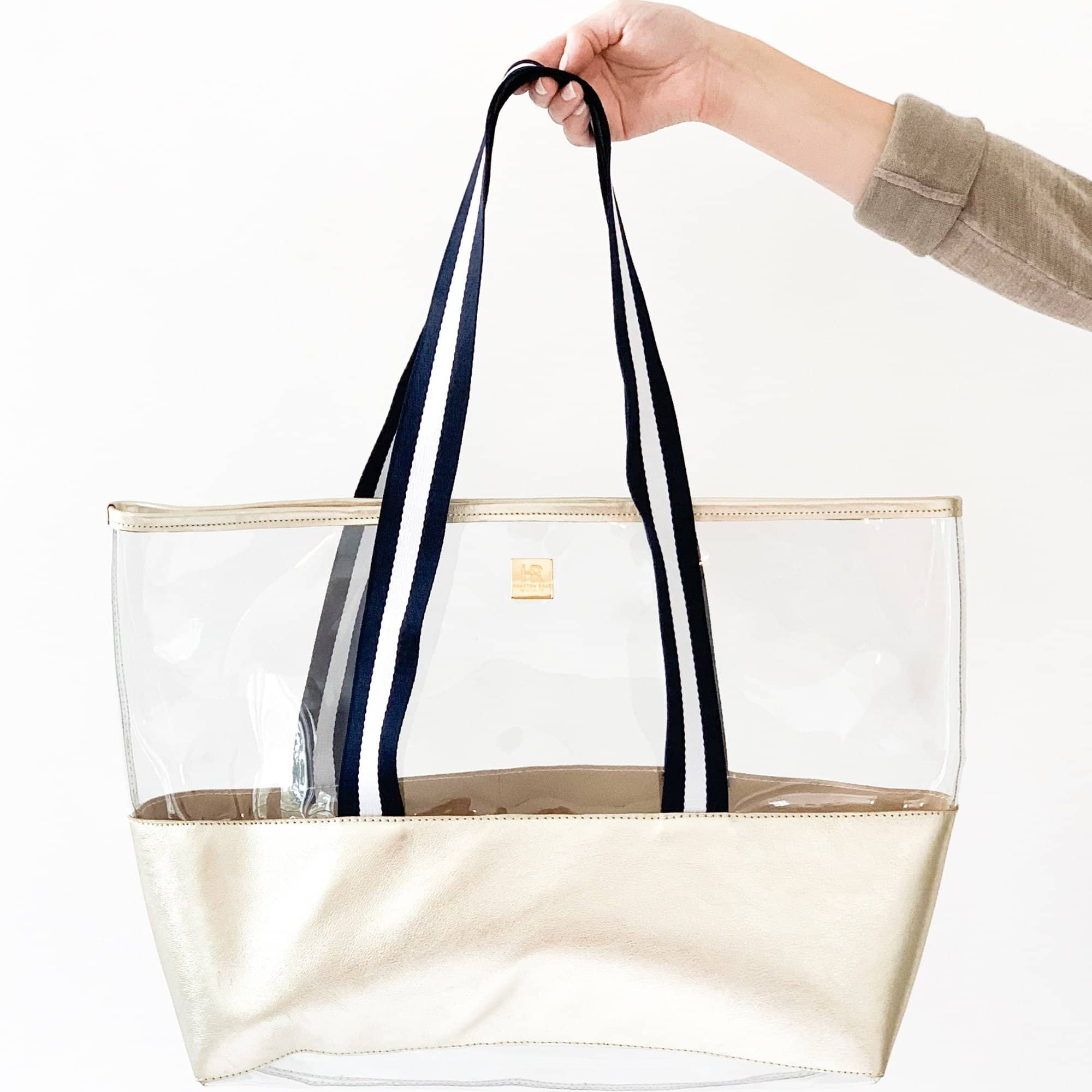 Ridgemont Tote, Gold + Navy & White - Hampton Road Designs
