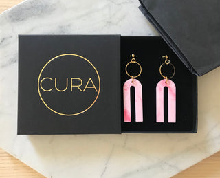 CURA ethical and sustainable earrings made from recycled plastic