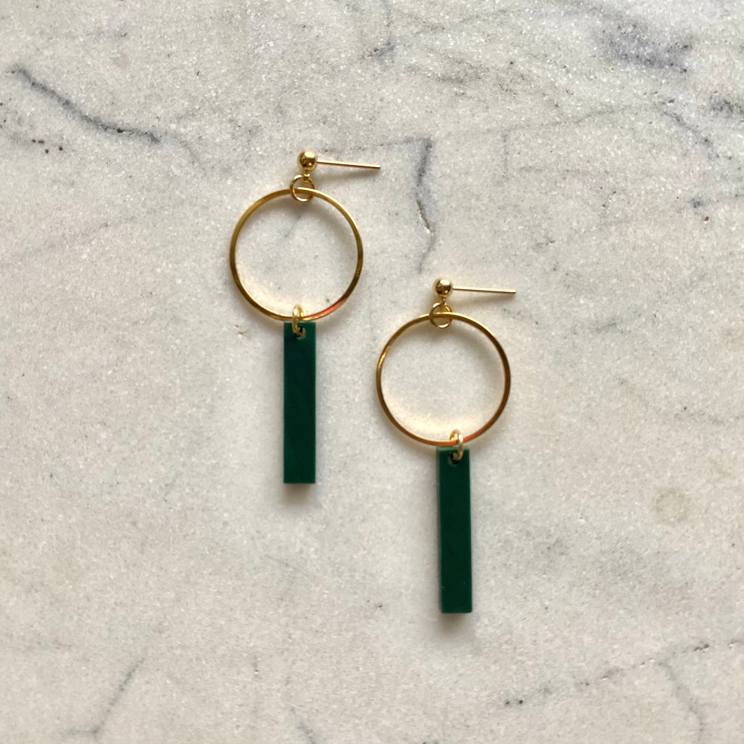 Bar Pendant Earrings- Malachite