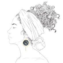 Load image into Gallery viewer, Halo Earrings- Black & White Marble