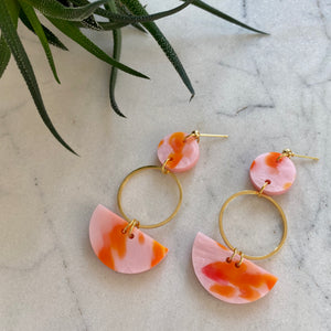 Mini Eclipse Earrings- Pink & Orange Spot
