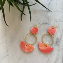 Load image into Gallery viewer, Mini Eclipse Earrings- Precious Coral