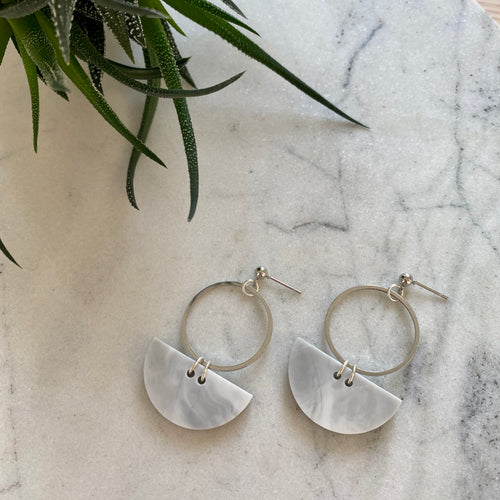 Mini Eclipse Reloaded Earrings- Soft Grey Marble
